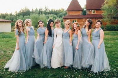 Elegant Tulle Sleeveless Mist Blue Ruffles A-Line Bridesmaid Dresses_5