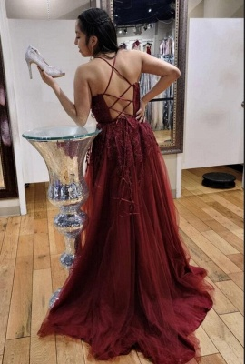 Spaghetti Straps Tulle Ruby Lace A-Line Prom Dresses_2