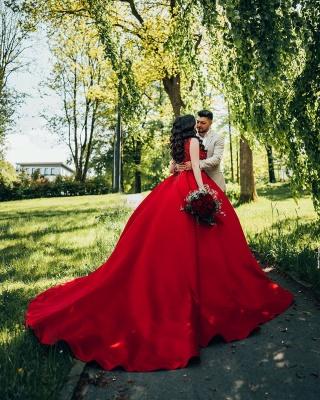 Modest Long Princess Satin Lace Wedding Dress_3