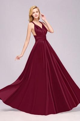 Sleeveless V Neck Satin Ruffles A-Line Bridesmaid Dresses_5