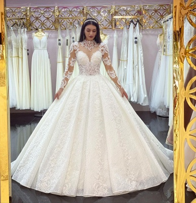 Princess Long Sleeves White Lace Appliques Ruffles Ball Gown Wedding Dresses_2