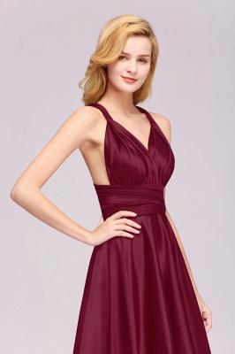 Sleeveless V Neck Satin Ruffles A-Line Bridesmaid Dresses_12