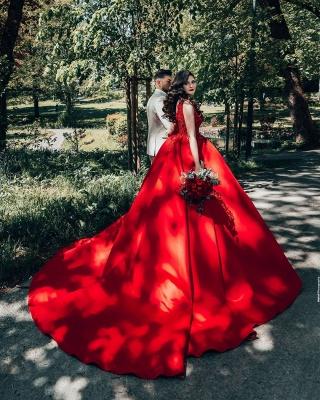 Modest Long Princess Satin Lace Wedding Dress_6