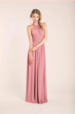 Chiffon Satin Ruffles A-Line Zipper Bridesmaid Dresses_3