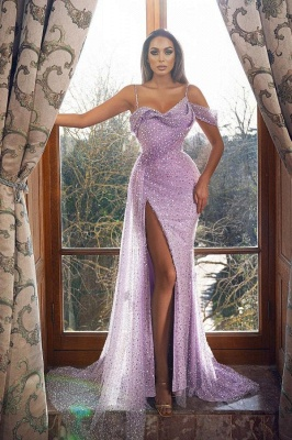 Vintage Sleeveless Orchid Sequins Front-Split Mermaid Prom Dresses_1