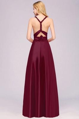 Sleeveless V Neck Satin Ruffles A-Line Bridesmaid Dresses_14