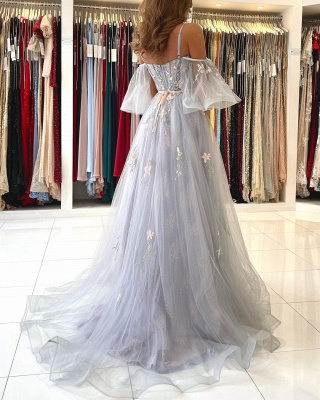 Princess Sleeveless Tulle Mist Blue A-Line Prom Dresses With Lace Appliques_6