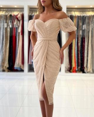 Off The Shoulder Ivory Sequins Ruffles Mermaid Prom Dresses Short_4