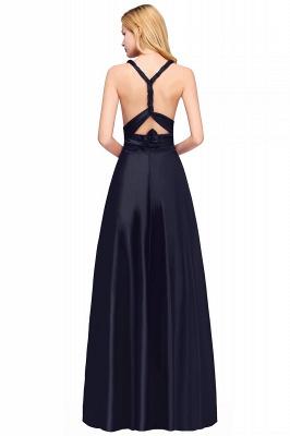 Sleeveless V Neck Satin Ruffles A-Line Bridesmaid Dresses_7
