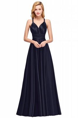 Sleeveless V Neck Satin Ruffles A-Line Bridesmaid Dresses_2
