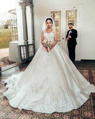 Elegant Satin White Sleeveless Appliques A-Line Wedding Dresses_2