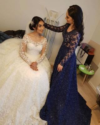 Long Luxury Princess Long Sleeves Jewel Lace Wedding Dress_10