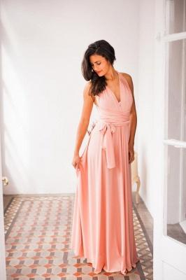 Chiffon Satin Ruffles A-Line Zipper Bridesmaid Dresses_8
