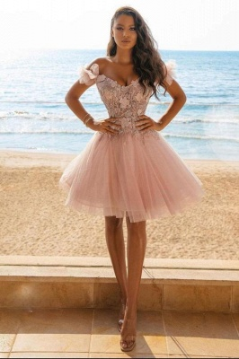 Adorable Off The Shoulder Tulle Light Pink Appliques Short Prom Dresses_1
