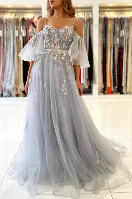 Princess Sleeveless Tulle Mist Blue A-Line Prom Dresses With Lace Appliques_1