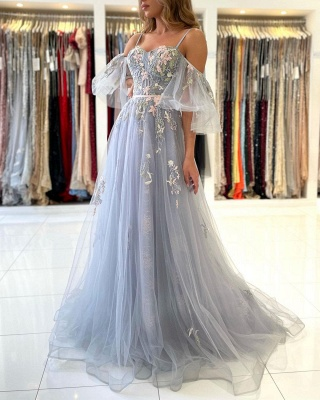 Princess Sleeveless Tulle Mist Blue A-Line Prom Dresses With Lace Appliques_3