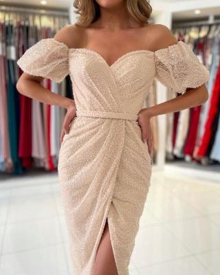 Off The Shoulder Ivory Sequins Ruffles Mermaid Prom Dresses Short_3