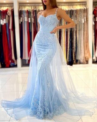 Graceful Spaghetti Straps Appliques Sky Blue Mermaid Prom Dresses_5