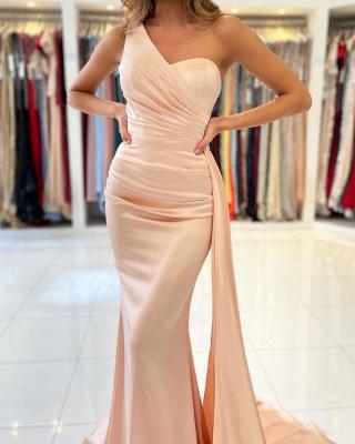 Elegant One Shoulder Nude Pink Zipper Mermaid Prom Dresses_3