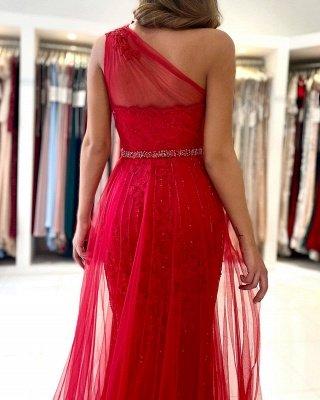 Vintage One Shoulder Tulle Ruby Split Lace Mermaid Prom Dresses_3