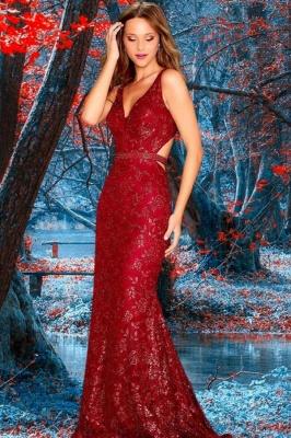 Vintage Sleeveless Ruby Appliques V Neck Mermaid Prom Dresses
