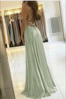 Vintage Sleeveless Light Green Ruffles Split A-Line Prom Dresses_2