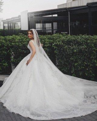Gorgeous Sleeveless V Neck Lace Appliques Wedding Dresses Long_3