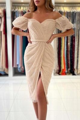 Off The Shoulder Ivory Sequins Ruffles Mermaid Prom Dresses Short