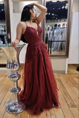 Spaghetti Straps Tulle Ruby Lace A-Line Prom Dresses