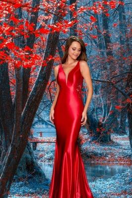 Ruby Sleeveless V Neck Lace Backless Mermaid Prom Dresses