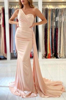 Elegant One Shoulder Nude Pink Zipper Mermaid Prom Dresses_1