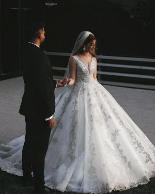 Gorgeous Sleeveless V Neck Lace Appliques Wedding Dresses Long_2