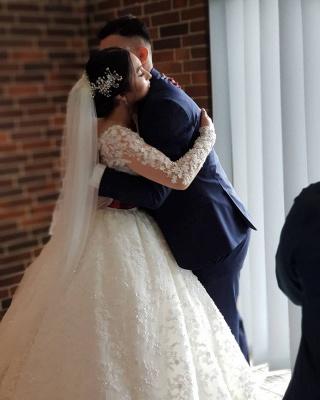 Long Luxury Princess Long Sleeves Jewel Lace Wedding Dress_6