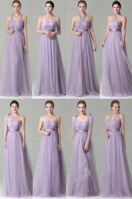Clamourous Tulle Purple Sleeveless Ruffles A-Line Bridesmaid Dresses_1