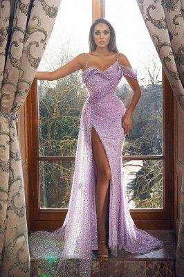 Vintage Sleeveless Orchid Sequins Front-Split Mermaid Prom Dresses