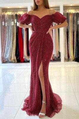 Off The Shoulder Sequins Red Front-Split Mermaid Prom Dresses