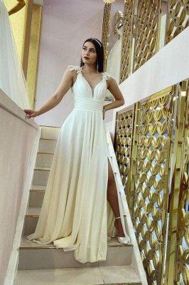 Chiffon White Sleeveless Ruffles Split Wedding Dresses