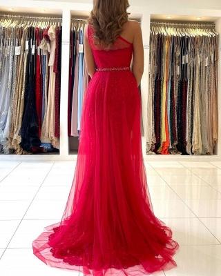 Vintage One Shoulder Tulle Ruby Split Lace Mermaid Prom Dresses_2