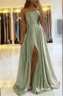 Vintage Sleeveless Light Green Ruffles Split A-Line Prom Dresses_3
