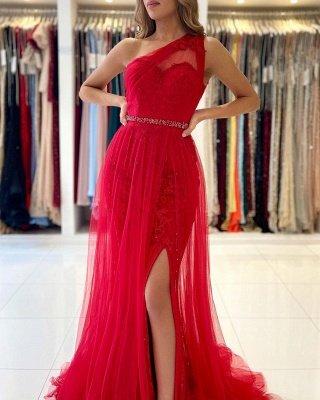 Vintage One Shoulder Tulle Ruby Split Lace Mermaid Prom Dresses_4