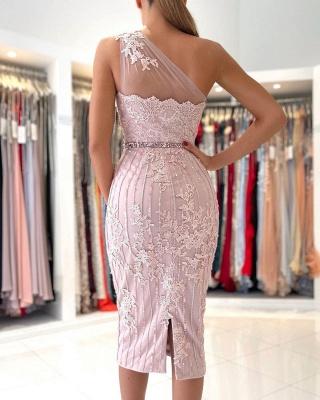One Shoulder Mermaid Floral Lace Slim Formal Party Dress_2