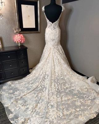 Vintage Long Sweetheart Backless Lace Mermaid Wedding Dress_2
