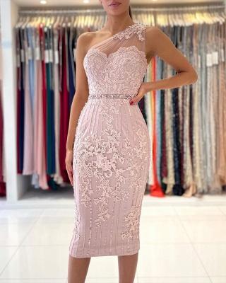 One Shoulder Mermaid Floral Lace Slim Formal Party Dress_3