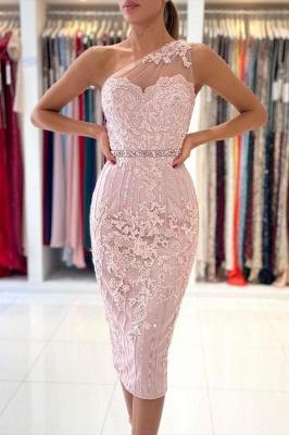 One Shoulder Mermaid Floral Lace Slim Formal Party Dress_1