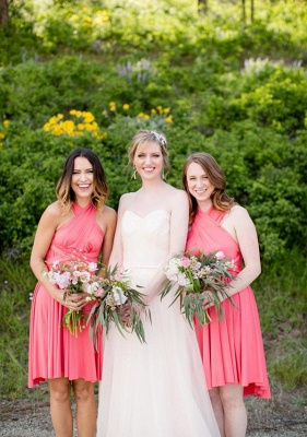 Coral Pink Multiway Infinity Bridesmaid Dresses   Convertible Wedding Party Dress_1