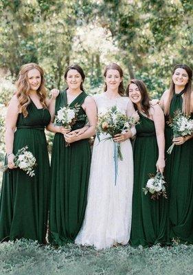Dark Green Multiway Infinity Bridesmaid Dresses | Convertible Wedding Party Dress