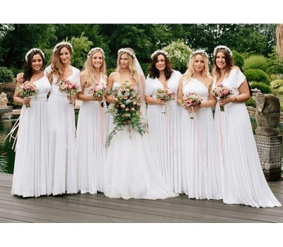 White Multiway Infinity Bridesmaid Dresses   Convertible Wedding Party Dress_1