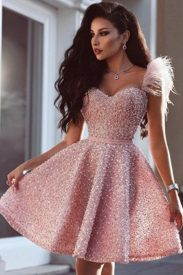 Luxury Short A-line Sweetheart Sequins Candy Pink Prom Dress