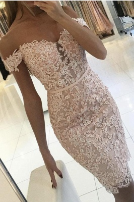 Short Mermaid Off-the-shoulder Lace Pink Prom Dress