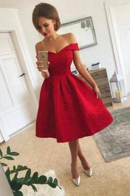 Elegant Short A-line Satin Off The Shoulder Red Prom Dress